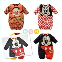 Free shipping new fashion 2014 cartoon baby romper,full sleeve baby costume outfit,girl boy jumpsuit,baby clothing mickey minnie