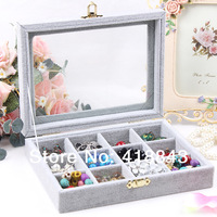 High-end multi-purpose all-glass cover velvet jewelry box jewelry box 12 grid wholesale jewelry boxes