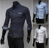 Men's Stylish Long Sleeve Lapel Collar Polka Dot Casual Business Shirts Fit Slim Dress Shirts