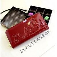 2014 women's handbag women's day wallet japanned leather shiny long design wallet Clutch bags