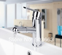 Fashion Wholesale And Retail Chrome Solid Brass Water Power Kitchen Faucet Swivel Spout Pull Out Vessel Sink Mixer MF-504