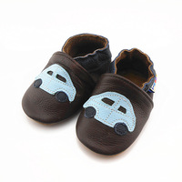 Genuine leather baby shoes coffee qq car soft toddler shoes slip-resistant outsole baby shoes