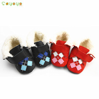 Genuine leather baby boots square grid soft outsole toddler cotton-padded shoes slip-resistant baby boots