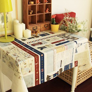 British style fashion vintage fluid table cloth zakka tablecloth letter gremial customize High Quality Oil Dining Free Shipping(China (Mainland))