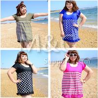 Free shipping 2014 spring summer women's swimwear Large plus size oversize swimsuits one pieces extra large size dress swimwear