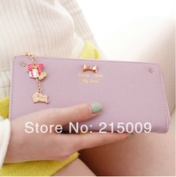 Free Ship 2014 Corea Style Cute Pendant Clutch Checkbook Change Coin Bag Women Purse Handbag Ladies Wallet