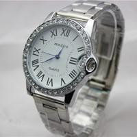 Free Shipping New Design Stylish Rhinestone Stainless Steel Watch Unisex Brand Wristwatches For Fashion
