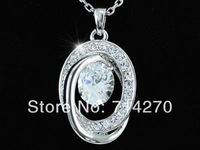 2014 Statement jewelry 18K White Gold Plated GP Austrian Crystal stainless steel chain pair oval pendant necklace for women 925
