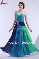 2014 Hot Sale Cheap Formal Women Gown Colorful Beaded Blue Green Floor Length Long Chiffon Summer Evening Dress Vestido De Festa