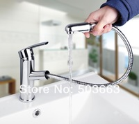 Hot Wholesale And Retail Chrome Solid Brass Water Power Kitchen Faucet Swivel Spout Pull Out Vessel Sink Mixer MF-505