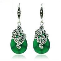 925 sterling silver onyx earrings genuine silver retro national wind earrings free shipping !!