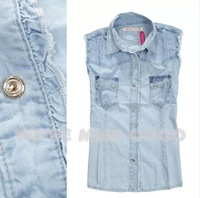 MISS COCO 2014 Vintage Consice Hemming Old Processed Sleeveless Good Shape Turn Down Collar Denim shirt for Ladies Women