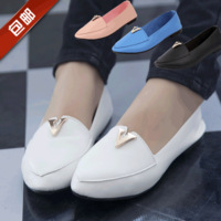 2014 women flats shoes Genuine leather women flats pointed toe single shoes candy color autumn solid color women shoes