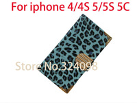 5pcs/Lot Free Shipping Crystal Diamond PU Leather  Wallet Case For iphone 4 4S 5 5S 5C