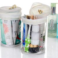 Transparent pvc travel wash bag cylindrical cosmetics storage bag waterproof belt lanyard towel bag