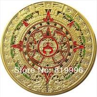 2 PCS 1 OZ MINT MAYAN AZTEC GODS 24k .999 GOLD clad COIN PROPHECY CALENDAR 2012