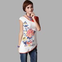 2014 spring and summer V-neck color block print short-sleeve T-shirt sweep