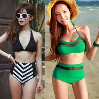 Free shipping New 2014 Sexy Vintage high waist navy style push up bikini set swimwear swimsuit bathing suit