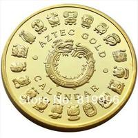 1 OZ MINT MAYAN AZTEC GODS 24k .999 GOLD clad COIN PROPHECY CALENDAR 2012
