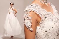 Sexy princess lace flowers beading wedding dress spaghetti strap custom for plus size