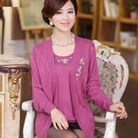 2014 spring long-sleeve o-neck loose faux two piece middle-age women long-sleeve mother clothing sweater cardigan