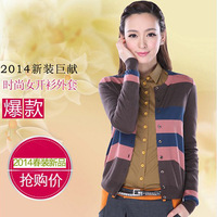 Women's knitted short cardigan 2014 spring all-match color block cardigan fashion stripe cardigan female