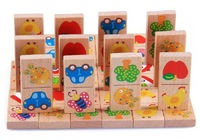 2014 new Jessie Store!Wooden Blocks Baby 28pcs Animal Domino Toys Multicolor Educatinal Wooden Toys For Children
