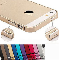 100 piece/lot 2014 new arrive 0.07mm metal bumper gold aluminum casefor iphone 5 5s 4 4s champagne