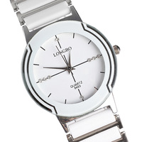 Japan movement white ceramic watch fashion round alloy men women watch free shipping