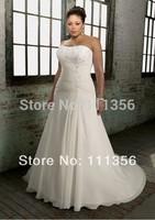 Wholesale or Retail 2014 Plus Size Bridal Dress Floor-Length A-Line Chiffon Wedding Dresses