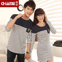Chame2014 spring women's print stripe patchwork lovers t-shirt female one-piece dress