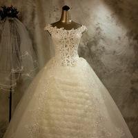 Fashion rose double-shoulder slit neckline elegant  rhinestone wedding dress free shipping