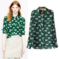 Hot 2014 Europe Fashion Brands Women High Quality Blouses Shirts Butterfly Print Long sleeve Chiffon Shirt Green Free Shipping