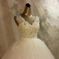 Deep V-neck sexy double-shoulder qi in wedding flower sparkling rhinestone wedding dress custom free shipping