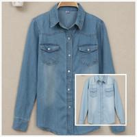 Spring 2014 Jean Shirt slim medium-long Casual denim shirt female long-sleeve turn-down collar basic shirt top European style