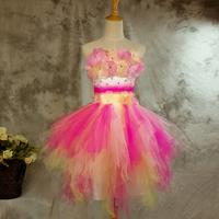 Multicolour flower costume sweet princess evening dress free shipping plus size