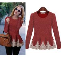 spring fashion women cotton lace edge design tshirt brand t shirt top blouse for woman t-shirt plus size