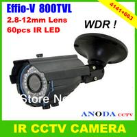 Super WDR Sony Effio-V 800TVL 60pcs Led 2.8-12mm Varifocal Lens OSD Menu Weatherproof CCTV Camera