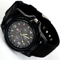 fast Shipping Cool Summer Men Sport Military Army Pilot Fabric Strap Sports Men's Swiss Military Watch 4 colors 50pcs/lot