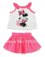 Free Shipping Summer Baby Girls Cartoon Minnie Bow T-shirt Polka Dot Lace Skirt 2 Piece Set Infant Toddler Children Outfits Suit