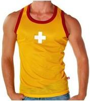 New Andrew Christian Men's Cross breathable vest waist Sexy Mens Vest Long Mesh Net String Fishnet Sleeveless Tank Tops for men
