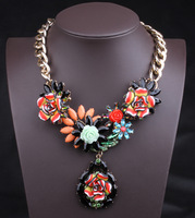 Free shipping beautiful necklace new arrive gold plated chain necklace statement necklace wholesale colorful flowers necklace