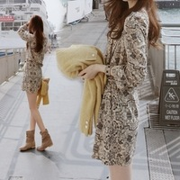 It sz spring women's chiffon one-piece dress long-sleeve dress pleated skirt