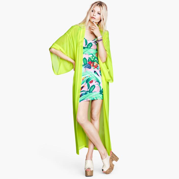 2014 blusas de algodão Long Fasion Meio envio Neon Lemon Kimono estilo de vestir vestido solto Saias Protetor solar vestido de camisa(China (Mainland))
