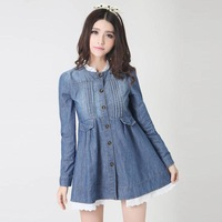 2014 spring lace decoration medium-long denim trench puff sleeve denim one-piece dress