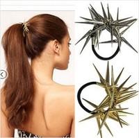 Popular 6pcs/lot DIY Retail Metallic Spine Hair Band Punk Rivet Hair Ring Vintage Golden/Sliver/Pink Hair Accessory