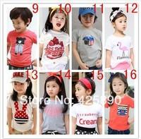 New Arrivel 2014 Summer children boys girls short-sleeve T shirt,  Children basic T shirt , children clothes, cartoon t-shirt