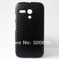 Black Deluxe Leather Hard PLASTI SKIN CASE COVER MASK FOR Motorola Moto G XT1032