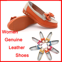 Sale New women genuine leather shoes pointed toe flats bow women's top 2014 spring Casual shoes free shipping