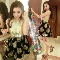 Fashion sexy ladies fashion paillette patchwork gold head portrait racerback pompon formal dress one-piece dress
